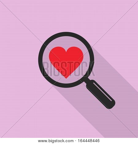Search heart love icon in flat style with long shadow vector isolated symbol.