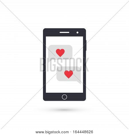 Smartphone with love speech bubbles vector valentine illustration.