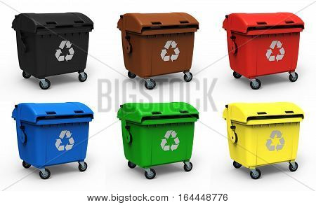 Different colors garbage container isolated on white background 3D rendering