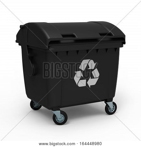 Black garbage container isolated on white background 3D rendering