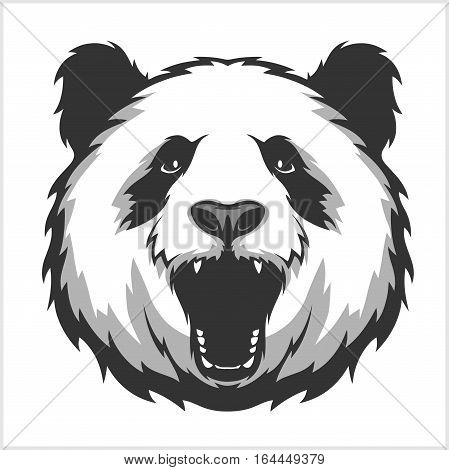 Portrait of Panda. Aggressive face bear. Vector Illustration