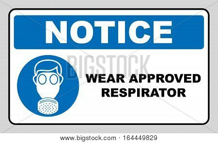 Wear approved respirator icon isolated on white background. Protection symbol. Information mandatory symbol in blue circle isolated on white. Vector illustration. Notice