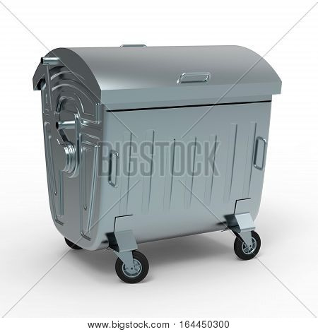 Metal garbage container closed isolated on white background 3D rendering