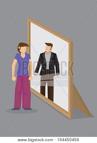 Cartoon woman looks into mirror and sees a man in reflection. Creative cartoon vector illustration on self perception concept isolated grey background.