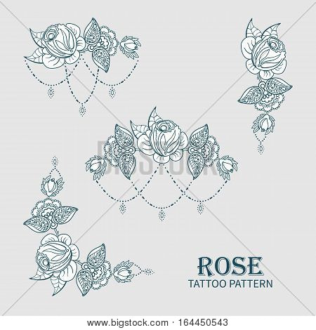 Hand drawn set of rose ornament of floral elements for henna tattoo, stickers, mehndi flash temporary tattoo.Traditional indian style, doodles collection, monochrome.Vector illustration.