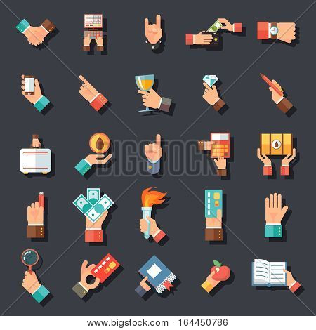 Hands Symbols Accessories Icons Symbols Set Flat Design Concept Template Stylish Background Vector Illustration