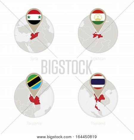 Syria, Tajikistan, Tanzania, Thailand Map And Flag In Circle.