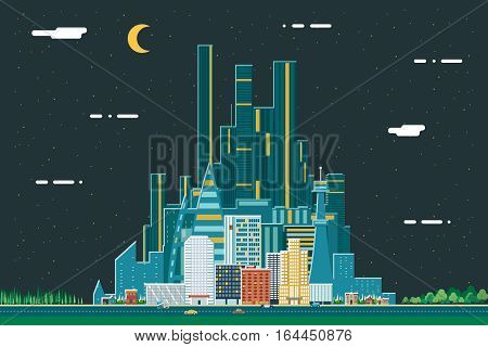 Night Urban Landscape City Real Estate Summer Background Design Concept Icon Template Vector Illustration
