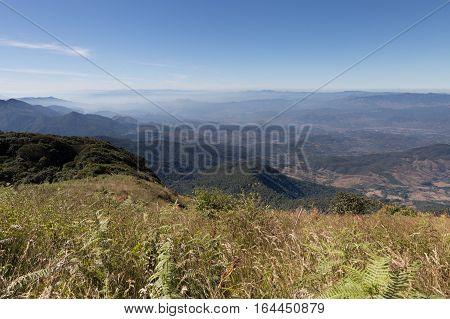 Mountain Landscape At Kew Mae Pan Nature Trail (doi Inthanon National Park) In Chiangmai,thailand