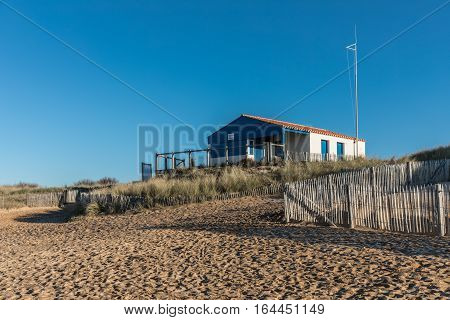 Closed rescue booth of the Paracou beach in La Chaume during the winter season