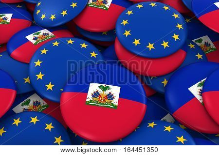 Haiti And Europe Badges Background - Pile Of Haitian And European Flag Buttons 3D Illustration