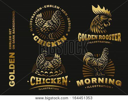 Set golden chicken illustration emblem, logo on dark background