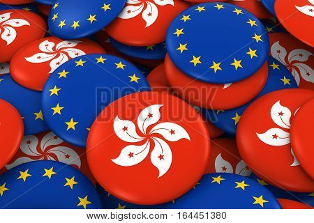 Hong Kong And Europe Badges Background - Pile Of Hong Kongese And European Flag Buttons 3D Illustrat