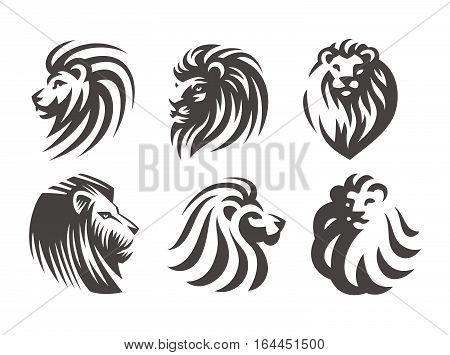 Lion head logo set - vector illustrations, emblem design on white background