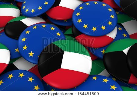 Kuwait And Europe Badges Background - Pile Of Kuwaiti And European Flag Buttons 3D Illustration