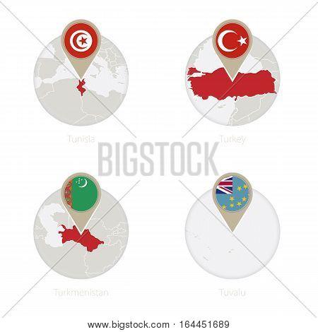 Tunisia, Turkey, Turkmenistan, Tuvalu Map And Flag In Circle.