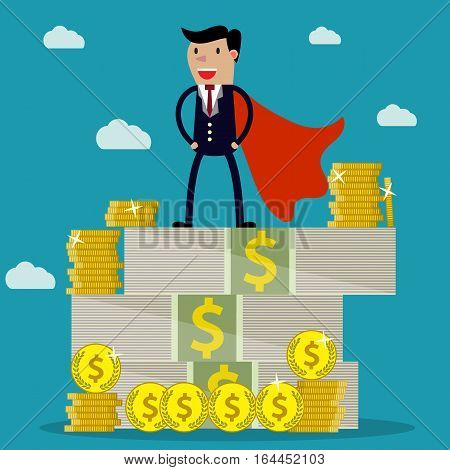 Happy super businessman standing on huge pile of money. Stacked dollar bills and coins. vector illustration in flat style