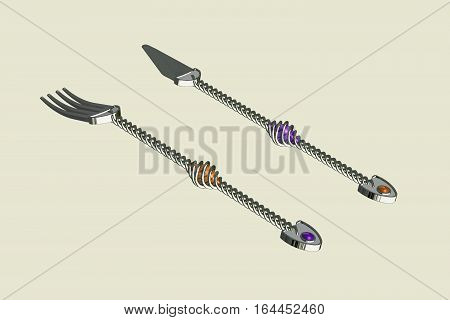 Original CAD Design of Knife and Folk featuring spiral handles and Gem stones