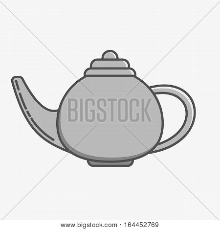 Simple icon of a teapot on grey background.