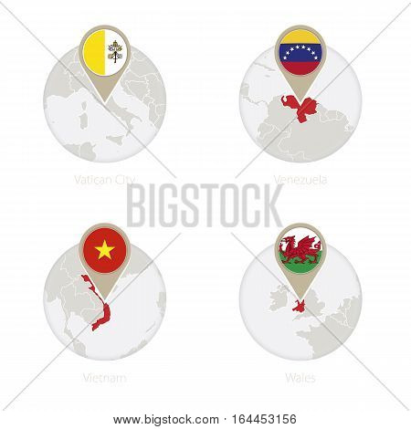 Vatican City, Venezuela, Vietnam, Wales Map And Flag In Circle.