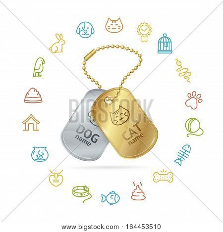 Pet Shop Concept with Icon Set and Animal Tags or Medallion for Web Design Your Business. Vector illustration