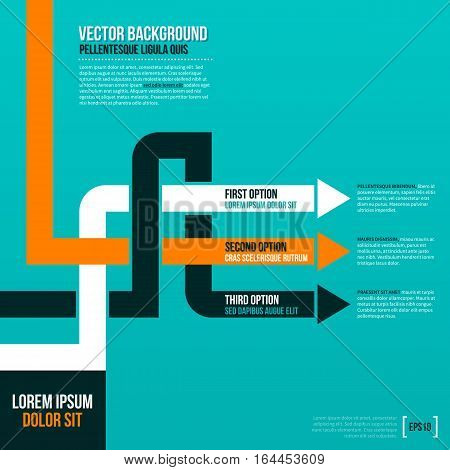 Vector Layout With Crossing Lines And Arrows On Turquoise Background. Eps10