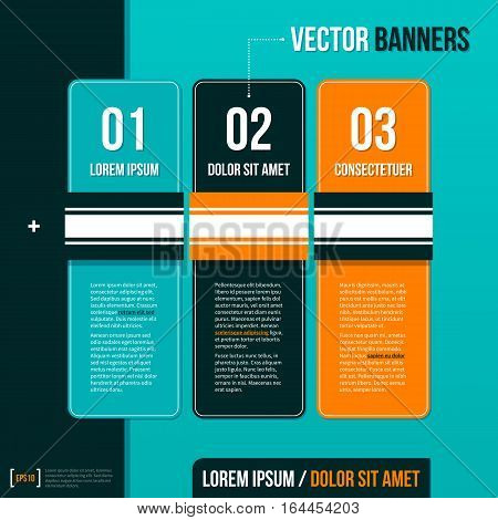 Three Vertical Banners On Turquoise Background. Useful For Presentations And Advertising.