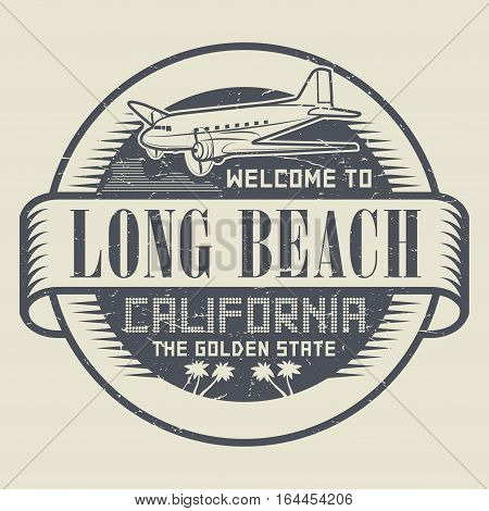 Stamp with airplane and text Welcome to California Long Beach vector illustration