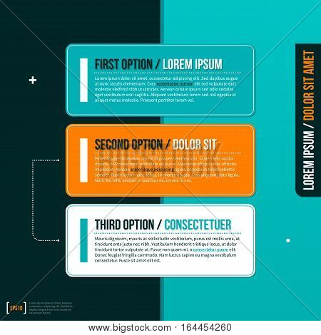 Three Horizontal Options On Turquoise Background. Useful For Presentations And Advertising.