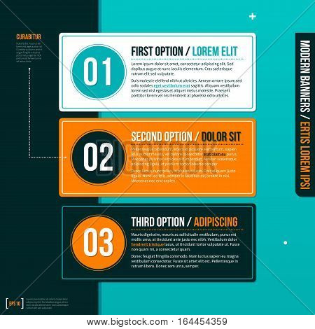 Three Numbered Banners On Turquoise Background. Useful For Presentations And Advertising.