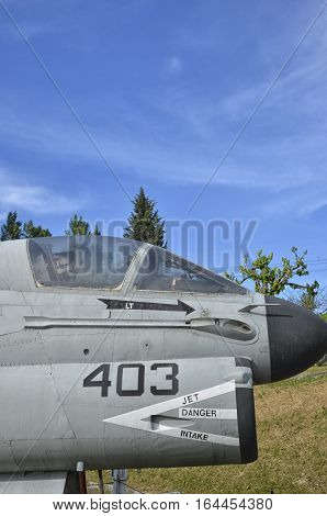 Close-up of a old LTV A-7 Corsair