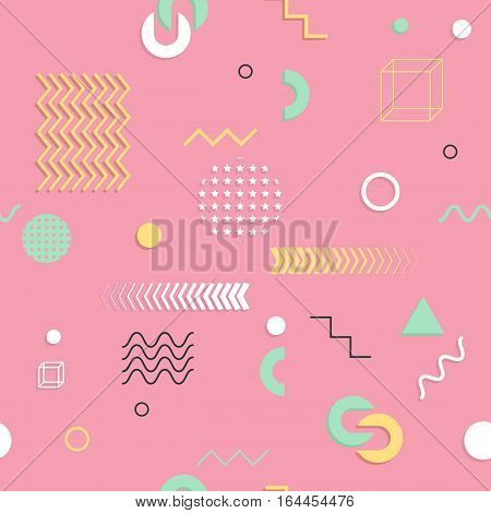 Abstract Seamless Patterns 80'-90's Styles. Trendy Memphis Style