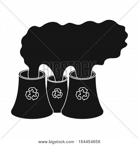 Recycling plant icon in black design isolated on white background. Bio and ecology symbol stock vector illustration.
