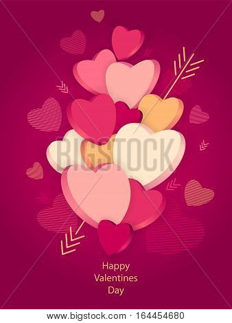 Hearts with 3D effect and arrow on dark pink for Poster or for Creative Post Card from Happy Valentines Day or for  package or  for web banners of congratulation or flyer for party