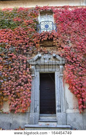 Albiate (Monza Brianza Lombardy Italy): exterior of the historic Villa Airoldi at fall