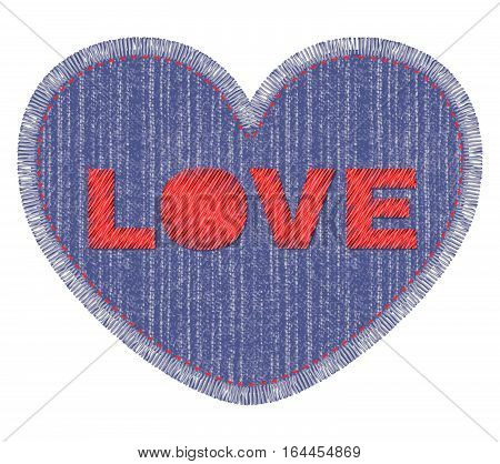 Denim patch with Love embroidery, stitch and fringe