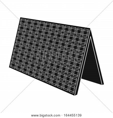 Solar panel icon in black design isolated on white background. Bio and ecology symbol stock vector illustration.