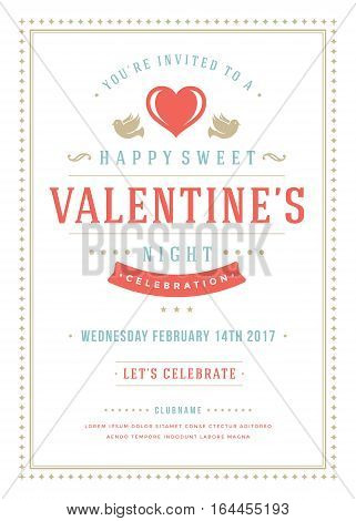 Happy Valentines Day Party Invitation or Poster Vector illustration. Retro typography design. Heart shape love symbol and elements, flyer template.