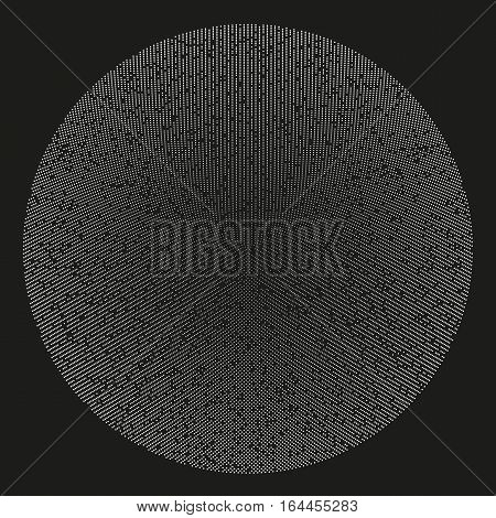Abstract monochrome vector background illustration made of round particles. Decorative symmetric composition. Modern element of design.