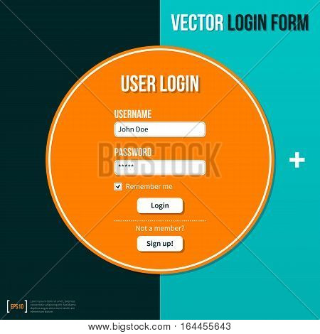 Login Form Template On Turquoise Background. Useful For Presentations And Advertising.