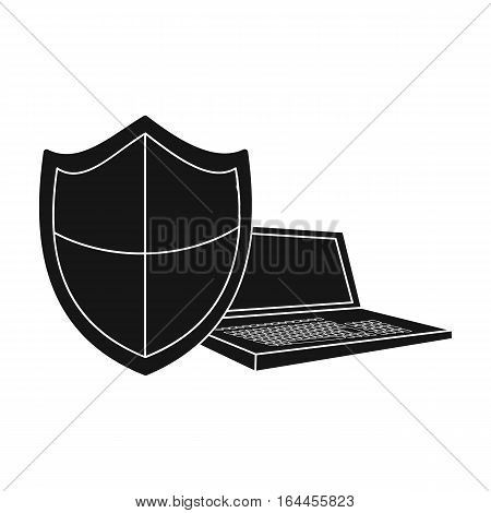 Data security of laptop icon in black design isolated on white background. Hackers and hacking symbol stock vector illustration.