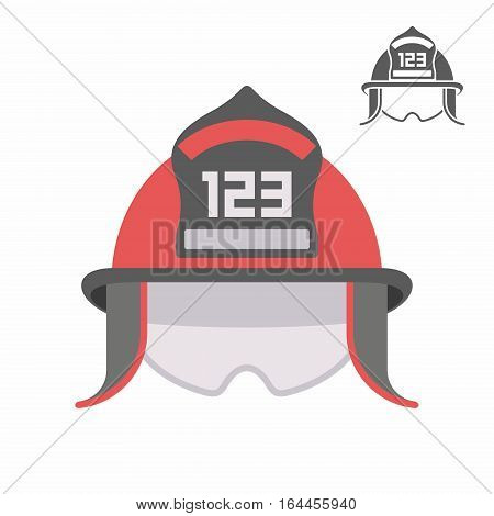 firefighter helmet over white background, vector illustration