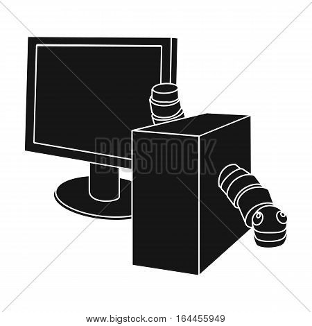 Computer virus icon in black design isolated on white background. Hackers and hacking symbol stock vector illustration.