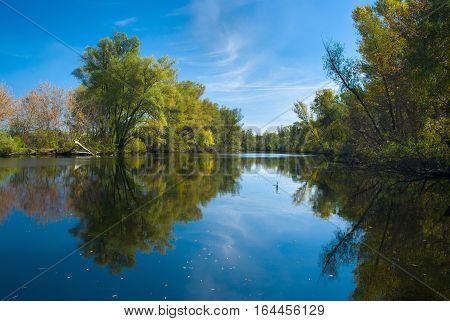 Small Ukrainian river Oril (left inflow of biggest river Dnepr) in fall season.