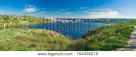 View from Khortytsia island to Hydroelectric Station (largest hydroelectric power station on the Dnieper River) Zaporizhia Ukraine.