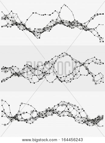 Modern abstract vector illustration with connected dots. Wavy mechanical construction. Complexity of modern analytical systems. Digital representation of informational flow. Element of design.