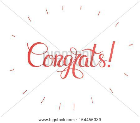 Vector holiday illustration.Congratulations card.Congrats Banner, card Typography Lettering