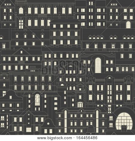 Vector seamless vintage pattern of old houses of nonexistent city at night. Thin line facades with light windows are arranged one behind the other. White on black background.