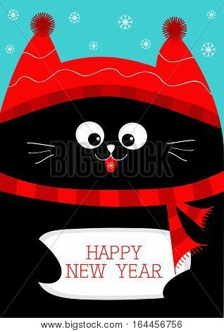 Black Cat holding Happy New Year. Cute funny cartoon character. Snow flake red hat scarf. Flat design Blue background. Vector illustration