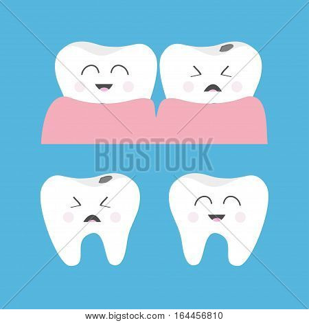 Healthy Crying bad ill smiling tooth gum icon. Cute character set. Oral dental hygiene. Children teeth care. Baby background. Flat design. Vector illustration